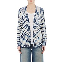 Raquel Allegra Women's Shredded Back Cardigan White Blue White Blue
