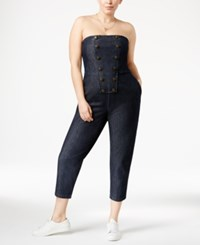 Rachel Roy Trendy Plus Size Strapless Military Romper Dark Blue