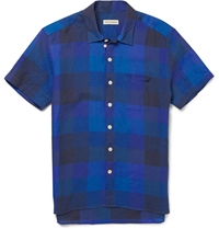 Oliver Spencer Checked Linen Short Sleeved Shirt Blue