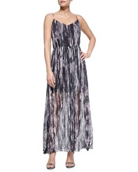 Andrew Marc New York Painted Wave Silk Maxi Dress Midnight Rose