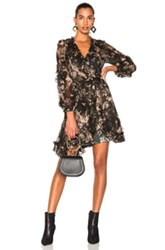 Zimmermann Maples Feathery Wrap Dress In Black Floral Black Floral