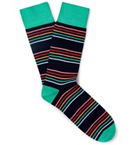 Corgi Striped Cotton Blend Socks Black