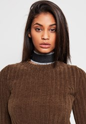 Missguided Black Frayed Denim Choker Necklace Blue