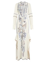 Peter Pilotto Neck Tie Embroidered Cady Maxi Dress White