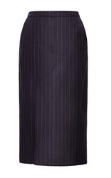 Bevza Pinstripe Pencil Skirt Navy
