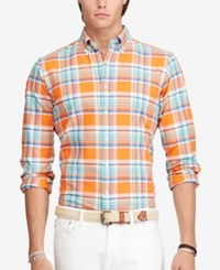 Polo Ralph Lauren Men's Plaid Oxford Shirt Orange