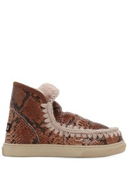 Mou 20Mm Python Print Leather Eskimo Boots Tan