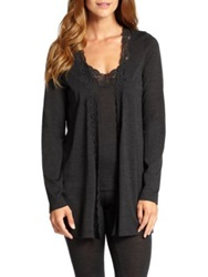 Hanro Downtown Lace Trimmed Cardigan Phantom