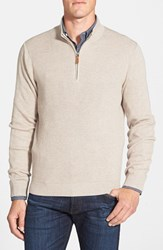 Nordstrom Men's Big And Tall Ribbed Quarter Zip Sweater Beige Goat Heather