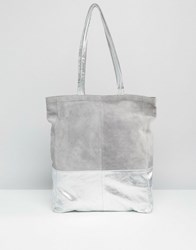 Asos Leather And Suede Metallic Panel Shopper Bag Pale Grey