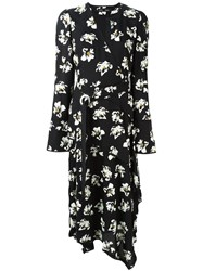 Proenza Schouler Flower Print Wrap Dress Black