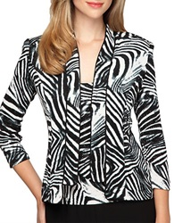 Alex Evenings Satin Trimmed Zebra Print Twinset Black Multi