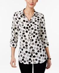 Ny Collection Petite Dot Print Utility Shirt White Dotghost