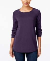 Karen Scott Crew Neck Sweater Only At Macy's Purple Dynasty