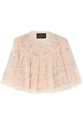 Needle And Thread Cropped Sequined Tulle Jacket Baby Pink