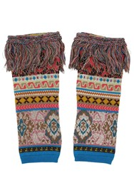 Etro Tricot Intarsia Fingerless Wool Gloves Multicolor