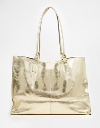 Asos Unlined Leather Shopper Bag With Skinny Straps Gold