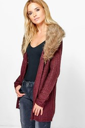 Boohoo Removable Faux Fur Trim Cardigan Aubergine