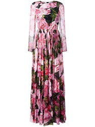 Dolce And Gabbana Rose Print Gown Pink Purple