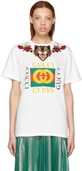 Gucci White Loved Angry Cat Logo T Shirt