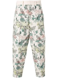 Marna Ro Floral Cropped Trousers Men Cotton Polyester Other Fibers S Nude Neutrals