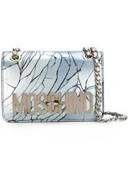 Moschino Cracked Effect Shoulder Bag Blue