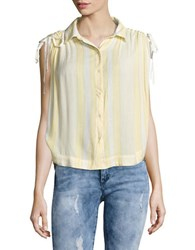 Free People Striped Button Front Shirt Ivory Yellow