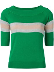 Guild Prime Striped Half Sleeve Sweater Women Cotton Rayon 34 Green