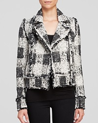 Rachel Zoe Jacket Port Tweed Moto Ivoire Black