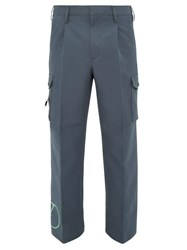 Valentino Logo Print Technical Twill Cargo Trousers Grey