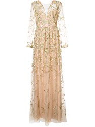 Marchesa Notte Floral Embroidered Gown Nude And Neutrals