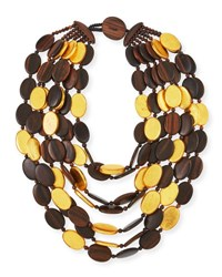 Viktoria Hayman Multi Strand Golden Wood Necklace Brown Gold