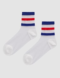 Hansel From Basel Tenenbaum Sheer Crew Socks In White