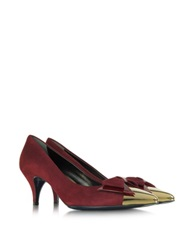Loriblu Burgundy Suede With Metallic Toe Pump