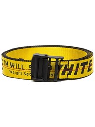 Off White Yellow And Black Industrial Logo Belt Yellow And Orange