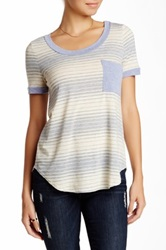Pink Owl Striped Contrast Pocket Tee Gray