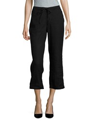 Nydj Petite Jamie Linen Blend Cropped Pants Black