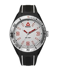 Reebok Emom 1.0 Scalloped Bezel Silicone Silver Strap Watch Black