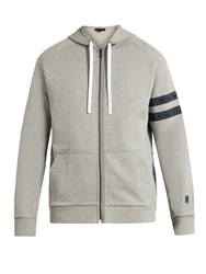 Lanvin Zip Through Hooded Cotton Sweatshirt Grey Multi
