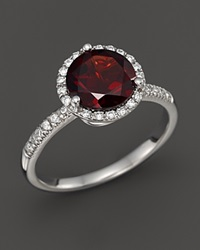 Bloomingdale's Garnet And Diamond Halo Ring In 14K White Gold Red White