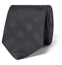Burberry 6Cm Checked Silk Jacquard Tie Charcoal