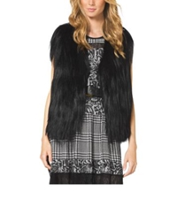 Michael Kors Cropped Fur Vest Black