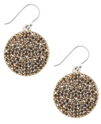 Lucky Brand Earrings Gold Tone Pave Disk Earrings