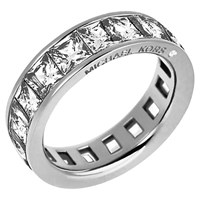 Michael Kors Clear Square Cut Ring Silver