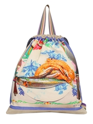 Etro Fish Printed Cotton Canvas Backpack Beige