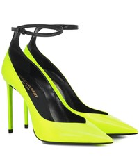 Saint Laurent Zoe 105 Patent Leather Pumps Yellow