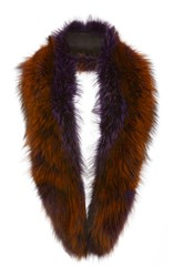 Sally Lapointe Violet Short Fox Stole Brown