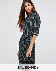 Brave Soul Tall Shirt Dress In Dot Print Black