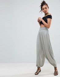 Asos Sheered Harem Pants In Jersey Grey Multi
