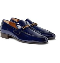 Tom Ford Peer Chain Trimmed Textured Patent Leather Loafers Navy